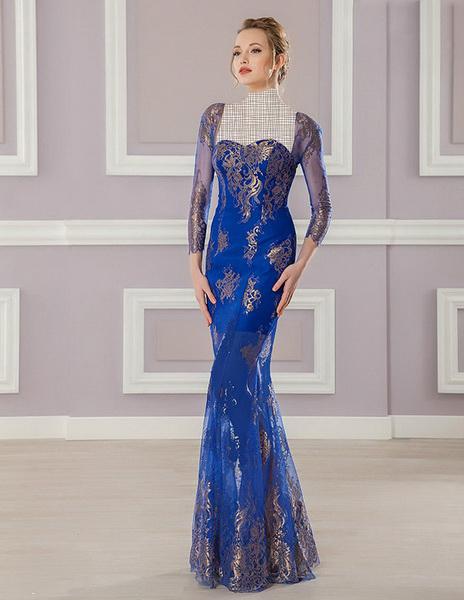 مدل لباس مجلسی بلند گيپور دار 2015